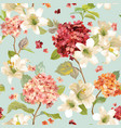 hortensia and lily flowers seamless background vector image
