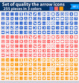 large set white icons pointing in three colors vector image vector image