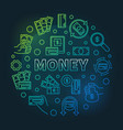 money round colorful on dark vector image