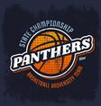 panthers basketball emblem for sport team vector image vector image