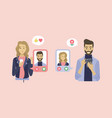 people chatting using special application dating vector image vector image