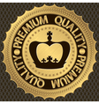 Premium Quality golden label with crown vector image vector image