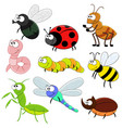 printset of cartoon funny insects vector image vector image