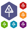 road works sign icons set vector image