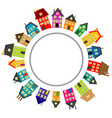 round frame with cartoon houses vector image vector image