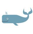 sea whale flat color art vector image