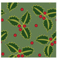 Seamless pattern holly green vector image vector image