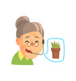 senior woman consulting people about plants vector image vector image