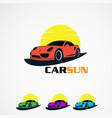 set car sun with simple concept logo icon element vector image vector image