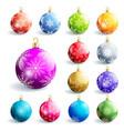 set colorful glowing christmas ball vector image
