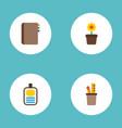 set of bureau icons flat style symbols with vector image vector image