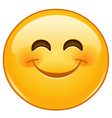 smiling emoticon with smiling eyes vector image vector image