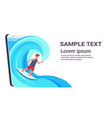 surfer man wearing digital glasses surfing on wave vector image vector image