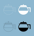teapot icon the black and white color icon vector image vector image
