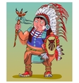 The American Indian in beautiful national clothes vector image vector image