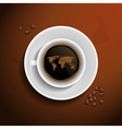 World map in coffee cup vector image