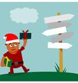 Young Santa Claus choice of direction vector image