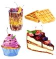 watercolor desserts with berries vector image