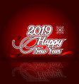 2019 happy new year on red reflection background vector image