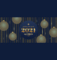 2021 new year greeting card with patterned baubles vector image