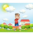 A tired boy standing with a soccer ball vector image vector image