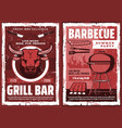 bbq picnic and barbecue grill party retro poster vector image vector image