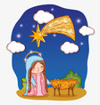 beauty mary with clouds stars and cradle vector image vector image