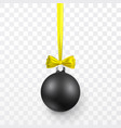 black christmas ball with yellow bow xmas glass vector image