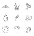 brazilia icon set outline style vector image vector image