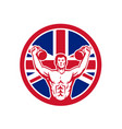 british physical fitness union jack flag icon vector image vector image
