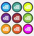 Buyer Menu icon sign Nine multi colored round vector image vector image