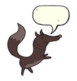 cartoon happy wolf with speech bubble vector image vector image