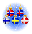 Christmas balls with flags of the Scandinavian vector image vector image