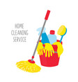 cleaning service house cleaning tools in bucket vector image