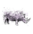 Colored hand sketch rhino vector image vector image