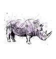 Colored hand sketch rhino vector image