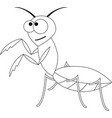 colorless funny cartoon mantis vector image vector image