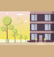 courtyard residential building vector image vector image
