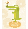 Cute hello card vector image