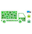 delivery car composition of hemp leaves vector image vector image