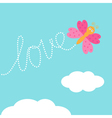 Flying butterfly insect Dash word Love in the sky vector image