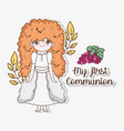 girl communion with branches leaves and grapes vector image