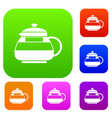glass teapot set collection vector image vector image