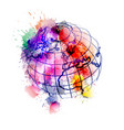 globe covered with colorful grunge splashes vector image vector image