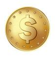 golden dollar coin money vector image vector image