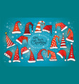 greeting christmas card with collection red vector image vector image
