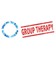 grunge group therapy stamp print and rotation vector image vector image
