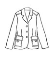hand draw blazer line men jacket linear doodle vector image vector image