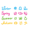 handwritten names and symbols four seasons vector image