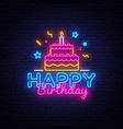 happy birthday neon text happy birthday vector image vector image